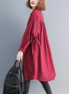春秋装新款韩版休闲大码棉料衬衫中长款宽松服饰百搭长袖薄外套女