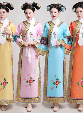清朝古装女还珠格格旗服公主宫女皇后甄嬛传服饰旗袍大码宫廷服装