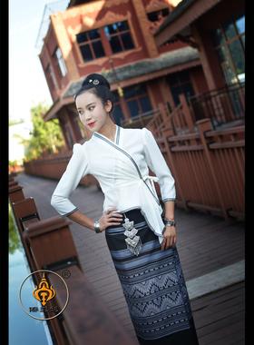 傣王妃服饰傣族时尚夏季透气薄款休闲装筒裙泼水节服黑白配生活装