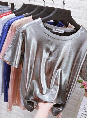 圆领珠光亮面短袖T恤女ins潮闪闪反光银色宽松表演服饰上衣小衫夏