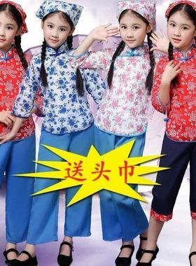 儿童民国服装舞台衣服花姑娘服饰话剧表演女装小姑娘戏剧农村女童