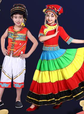 儿童彝族七月火把节服装大凉山节日舞蹈表演服饰少数民族大摆裙