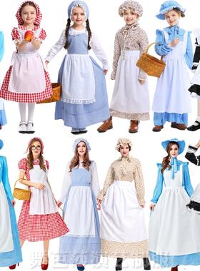 中世纪平民服装亲子装欧洲女仆服厨娘装田园风农场服英国农庄服饰