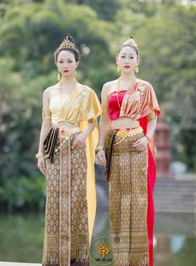 傣王妃服饰泰国服装女套装进口面料傣族泼水节盛装修身大气迎宾服