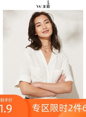 万丽(服饰)女装 衬衫女短袖2020年新款复古口袋宽松衬衣