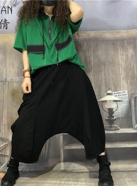 素倩(服饰)大码宽松贴布短袖T恤女夏季薄撞色韩版显瘦连帽上衣