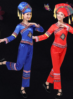 少数民族服装女壮族演出服广西云南湘西苗族彝族三月三舞蹈衣服饰