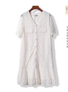 杭典服饰●言系列21春季新品女士蕾丝淑女单排扣连衣裙~879