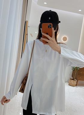 IMFLY/陈儒兵服饰店 白色长袖t恤女宽松设计感开叉上衣打底衫秋冬