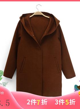 拉系列服饰羊毛大衣秋冬宽松连帽韩版百搭呢外套20012549/L47