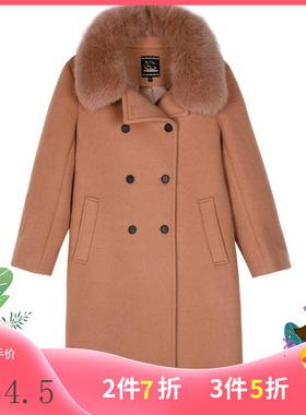 拉系列服饰秋冬狐狸毛领宽松时尚全羊毛呢外套三标全30084075/L75
