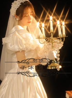 新款80年代法式婚纱性感复古宫廷风白纱影楼写真主题服饰装艺术照
