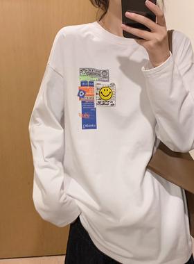 阿伟服饰韩版女装百搭内搭打底圆领宽松笑脸胶印字母加厚长袖T恤