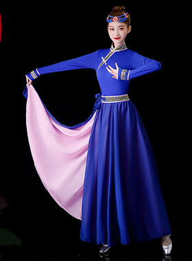 蒙古舞蹈演出服服饰女蒙古族服装女族蒙族儿童现代鸿雁艺考藏族裙