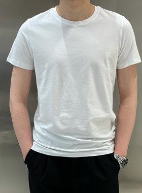 宫男装服饰2021春夏圆领净版百搭棉质运动短袖T恤男潮牌弹力修身