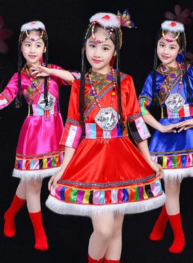 六一儿童藏族舞蹈演出服装水袖少数民族女童蒙古族幼儿园表演服饰
