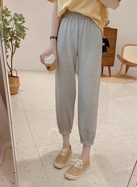 IMFLY/陈儒兵服饰店 灰色运动裤子女高腰束脚哈伦裤宽松休闲卫裤