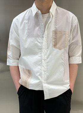宫男装服饰2021春夏新品不规则撞色素条中袖棉质衬衫休闲短袖上衣