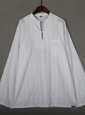 2021春夏薄款t恤男长袖宽松休闲通勤文艺小衫体桖白色上衣服饰 潮