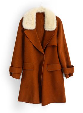 拉系列服饰秋冬赫本风水貂毛领时尚流行羊毛呢子外套10017963/L-1