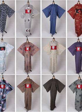 vintage古着日本制传统节日民族服饰日式花色长款和服外套X111