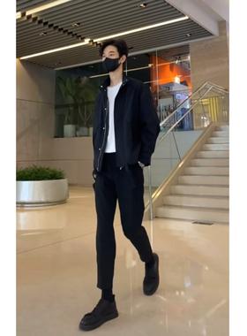 【套装】马各服饰秋装新款立领韩版帅气百搭衣服潮夹克外套九分裤