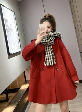 抖音网红丸子璐服饰秋装新品纯色中长款双面呢大衣宽松小个子外套