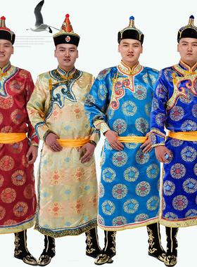 蒙古族服装男士蒙古袍成人缎面长款蒙古族演出服装男民族舞蹈服饰