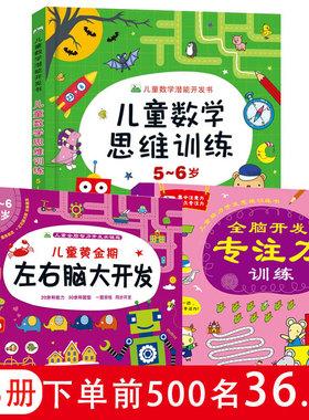 正版共3册 5-6岁儿童数学逻辑思维训练书籍 幼儿黄金期左右脑大脑开发 全脑开发专注力训练书幼儿园幼小衔接学前儿童读物游戏书