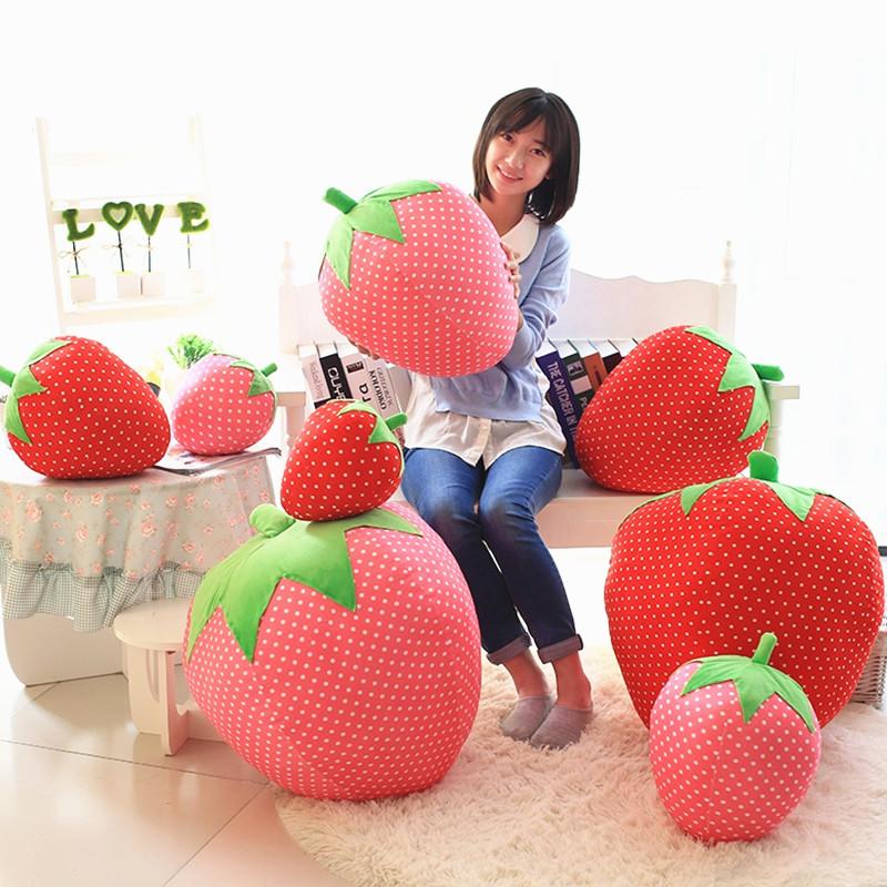创意仿真草莓抱枕可爱水果桃子枕生日礼物玩偶儿童毛绒玩具布娃娃