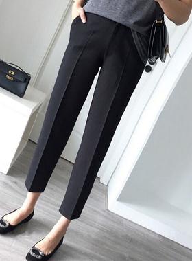 加绒西装裤女秋冬装大码女装2021新款直筒女裤子欧货黑色烟管裤潮