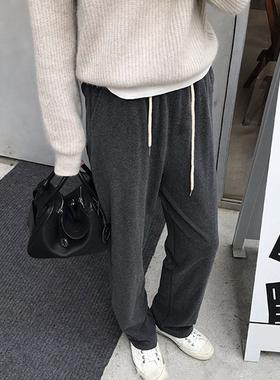 胖妹妹阔腿裤女秋冬2021新款女装大码高腰显瘦加厚休闲直筒长裤子