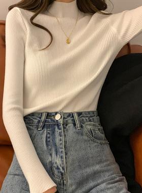 春款女装2021新款大码胖mm半高领毛衣打底针织衫修身百搭内搭上衣