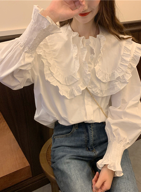秋季2021新款大码女装气质百搭荷叶领上衣女胖妹妹显瘦泡泡袖衬衫
