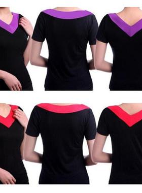 夏季莫代尔中老年妈妈广场舞服装V领短袖T恤大女码薄款加肥大上衣