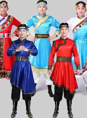 新款藏族蒙古族舞蹈演出服装长袍套装少数民族风西藏男中老年成人