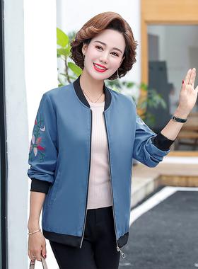 中老年女装短款夹克外套妈妈装中年宽松大码春装新款妇女服装洋气
