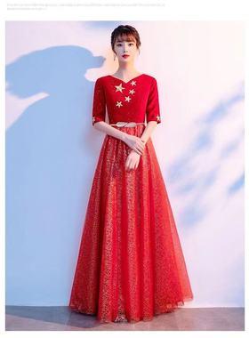 国庆新款红歌大合唱演出服女长裙中老年成人合唱团服装学生合唱服