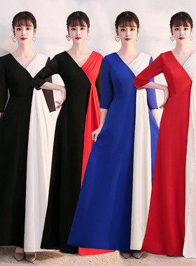 新款大合唱团成人演出服女长裙中老年红歌诗朗诵表演服装舞台礼服