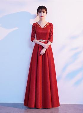 大合唱服演出服女长裙成人中老年红歌合唱团舞台服装爱国主持礼服
