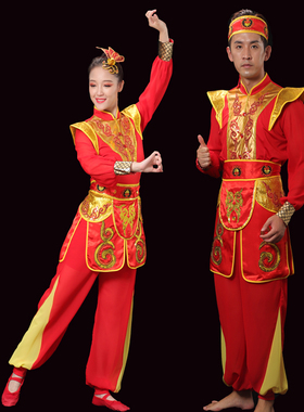 新款威风锣鼓队服喜庆中老年打腰鼓服装开场舞水鼓战鼓大鼓铜锣队