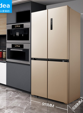 智能家电美的505L升十字对开门电冰箱四门变频节能家用无霜大容量