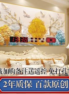 万年历电子钟装饰画2021年新款挂墙数码日历家用客厅壁挂时钟表灯