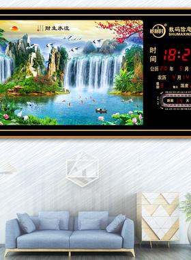 恺利时新款侧显LED装饰数码电子客厅墙挂钟表静音日历万年历时钟