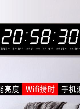 万年历大屏电子钟带温度湿度2021年数码挂钟办公室客厅led家用表