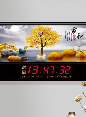 数码万年历电子钟2021新款客厅壁挂静音时钟时尚灯家用钟表挂钟