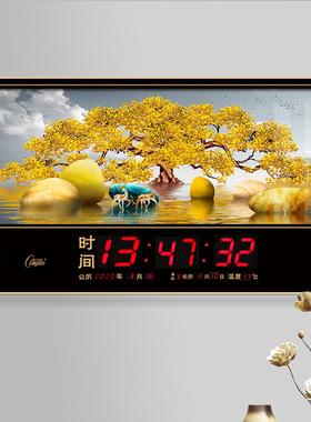 康巴丝万年历电子钟2021新款客厅大显数码静音日历钟挂墙家用钟表