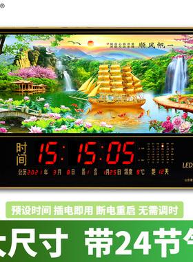 康巴丝电子万年历wifi挂钟大尺寸家用挂墙上插电夜光数码日历钟表