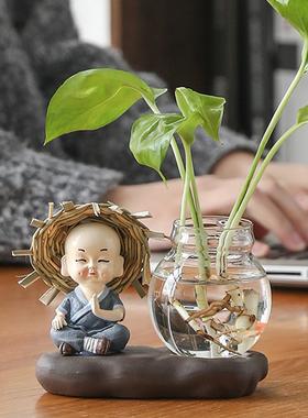 绿萝水培花盆器皿花瓶透明玻璃插花花器客厅办公桌装饰品家居摆件
