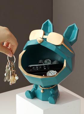 进门口放钥匙收纳摆件创意轻奢招财法斗玄关鞋柜电视柜家居装饰品